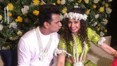 Prince Narula and Yuvika Chaudhary Looking Cute On their Mehendi Ceremony