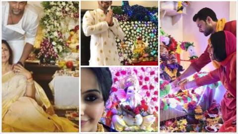 Ganesh Chaturthi 2018: TV stars welcome 'bappa' home; pose with their Ganpati idol!
