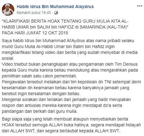 Klarifikasi Habib Idrus terkait isu penangkapan habib umar
