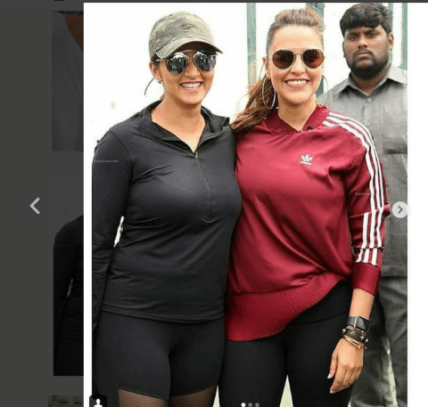 Both Sania and Neha Dhupia looked stunning in sports dress