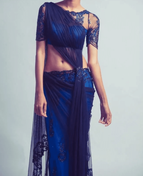Blue Sarees with Lace Work look Enchanting