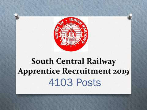 South Central Railway Apprentice Recruitment 2019 for 4103 Posts