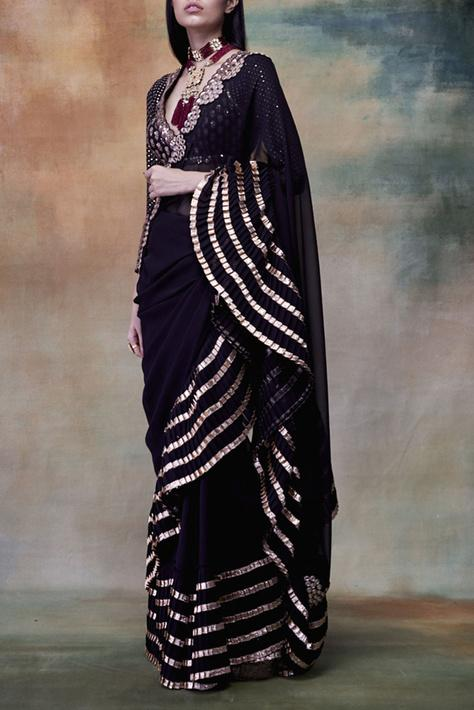 Latest ruffle sarees for women